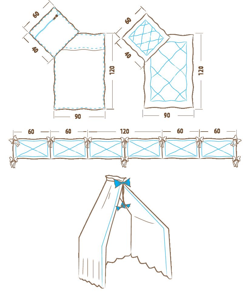 Komplet pościeli 120×90 – 6 elementowy (ochraniacz 360 cm)