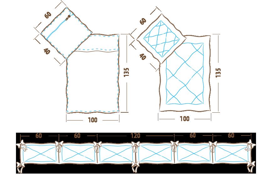 Komplet pościeli 135×100 – 5 elementowy (ochraniacz 360cm)