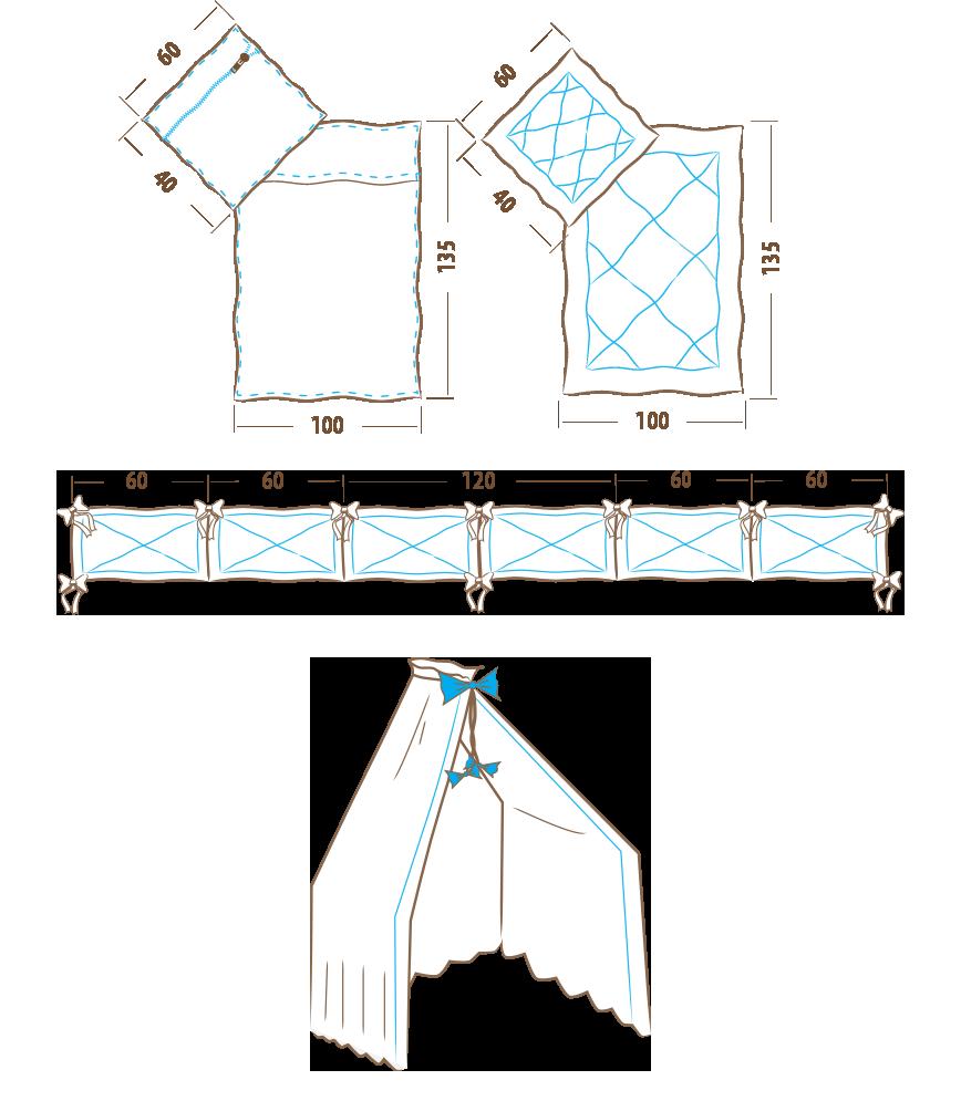 Komplet pościeli 135x100 - 6 elementowy (ochraniacz 360cm)