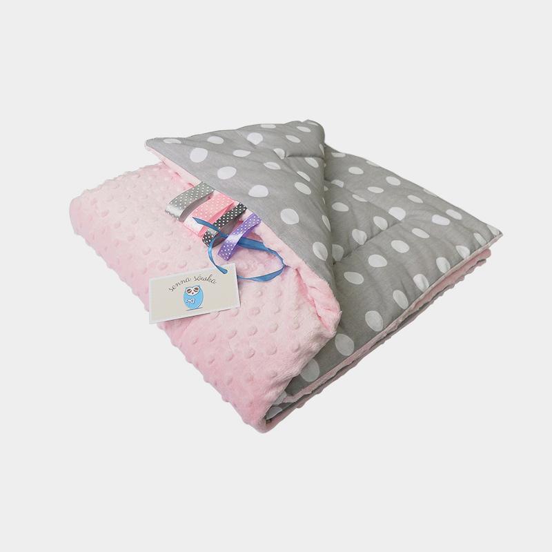 Kocyk Minky gruby jasny róż + grochy